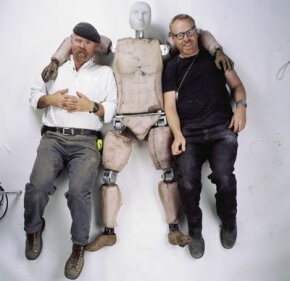 "Jamie and Adam get cozy with ""Buster"" the crash test dummy."