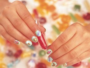 Try the sweet treats nail art idea.