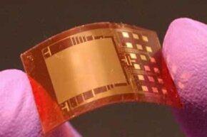 Nanogenerators look like tiny circuit boards and can generate electric current with a simple squeeze. See more electronic parts pictures.
