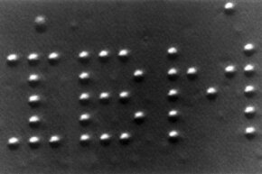 IBM's Almaden Research Center created this pattern with individual xenon atoms using a scanning tunneling microscope on April 4, 1990.
