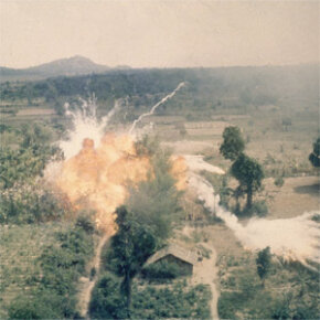 Images like this one, of napalm exploding in an area south of Saigon, became well known during the Vietnam War, but napalm hasn't exactly died out since then.