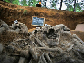 A mass grave containing 13 skeletons unearthed in Guatemala in 2005.
