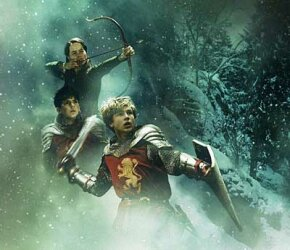 "Edmund, Susan and Peter Pevensie as shown in the 2005 film ""The Lion, the Witch and the Wardrobe."""