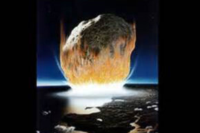Aritist's impression of a catastrophic asteroid hitting the Earth.