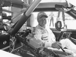 "Cale Yarborough in 1983, before TV broadcasts got fancy. Yarborough said, ""As far as I'm concerned, CBS can put a camera in my car anytime."""