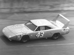 Richard Petty drove this Plymouth Superbird in the 1970 Daytona 500. The Superbird's huge rear wing and pointed front end gave it a considerable aerodynamic advantage.