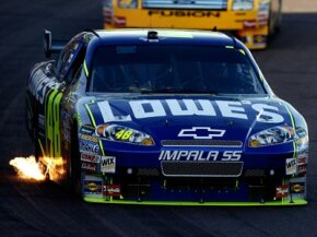 It's easy to see how low the splitter is on Jimmie Johnson's #48 car -- the bottom edge is neon green.