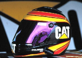 Most drivers wear a full-face helmet like this one.