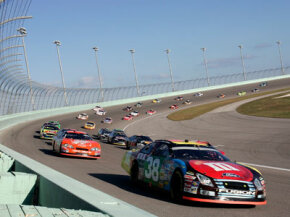 High-banked turns allow NASCAR drivers to remain at or near top speed.