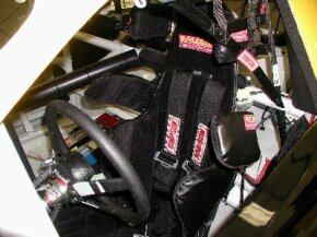 The seat in a NASCAR race car: Note how it wraps tightly around the driver's ribs and shoulders. See more NASCAR pictures.
