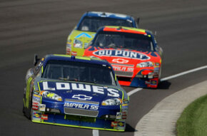 Pole sitter Jimmie Johnson leads the field in the #48 Lowe's Chevrolet at the NASCAR Sprint Cup Series Allstate 400 at the Brickyard at Indianapolis Motor Speedway on July 27, 2008 in Indianapolis, Ind. See more NASCAR pictures.