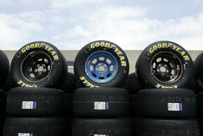 There's no tread on these tires -- they're Goodyear Racing Eagle slicks. If you look closely, you can see the data sticker, too.