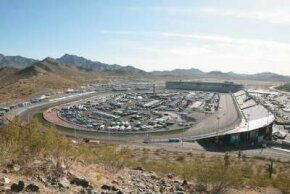 "Phoenix International Raceway is noted for its curved backstretch, called ""the dogleg."""