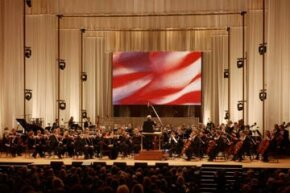 The National Symphony Orchestra performs at the Kennedy Center in Washington, D.C.