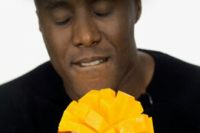 That mango's packed with triglycerides, the same types of fats that make up your natural sebum moisturizer.
