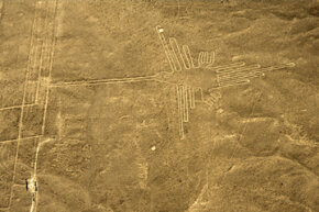 You're looking at an aerial view of a hummingbird, one of the most well-preserved figures (305 feet or 93 meters long) of the Nazca lines.