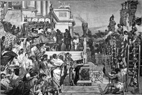 In this engraving, Nero presides over the burning of Christians at the stake.