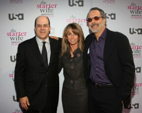 """The director of network programming plans TV show premieres like this one for """"The Starter Wife."""" Here at the premiere from left, Jeff Wachtel, executive vice president of original programming; Bonnie Hammer, president; and director Jon Avnet."""