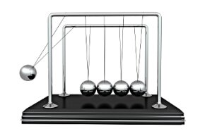 In a Newton's cradle, when the ball on the end strikes the others it sends the one on the opposite end into the air. But why are the balls in the middle so calm?