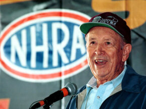 NHRA founder Wally Parks speaks at the 50th Anniversay of the NHRA.