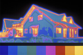With thermal infrared, it's pretty easy to see the areas of this house that are losing heat. The brighter colors represent areas of heat loss.