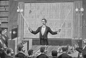 An engraving shows inventor Nikola Tesla delivering a lecture to the French Physical Society and The International Society of Electricians in the 1880s.