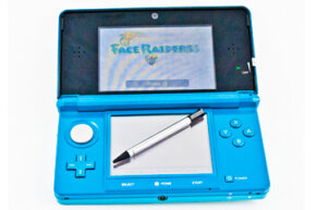 The Nintendo 3DS comes with a telescoping stylus that fits snugly in the back of the device.