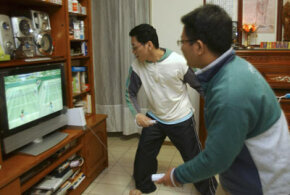 Two men in Taiwan test out the Wii in March 2007.