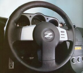 The 350Z steering wheel had varying levels of leather and cushioning, to fit the hands of the driver.