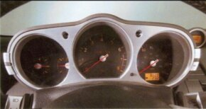 The main gauges were housed in a binnacle that adjusted vertically with the steering column.