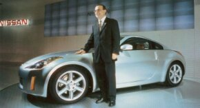 Nissan President Carlos Ghosn was proud to show off the 2003 Nissan 350Z production car.