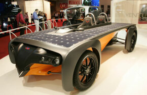 The Venturi Astrolab, the world's first commercially available solar-electric hybrid, on display at the 2006 Paris Motor Show