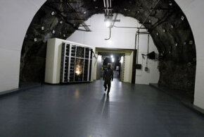 One of the 25-ton blast doors that protect the NORAD Cheyenne Mountain complex