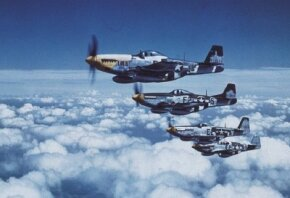 The drop-tank innovation gave the North American P-51 Mustang long-range capability. This made it ideal for bomber escort, which allowed a maximum number of bombs to hit targets, and bring the war to a conclusion. See more flight pictures.