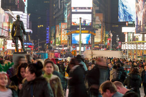 People flock to Times Square, New York City, for the New Year's Eve celebration. Yelling 'fire' in a place like this would probably not be protected by the First Amendment. Unless it were true.