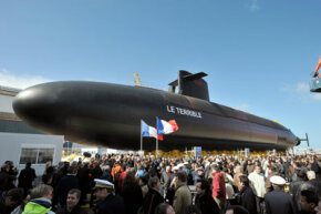 The French submarine Le Terrible is inaugurated on March 21, 2008, in Cherbourg, France. Le Terrible was developed entirely through computer-assisted design and will begin service in 2010. See our collection of submarine pictures.