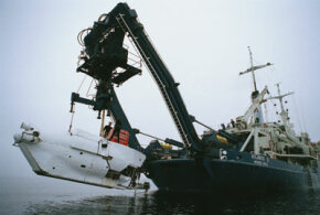 A research submersible is lowered into Monterey Bay in 2006.