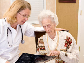 A patient consults with her doctor about medical care.