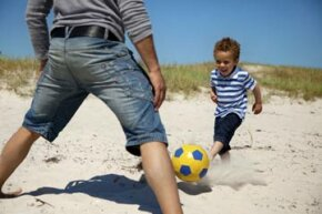 You can have your child dribble a soccer ball towards you.