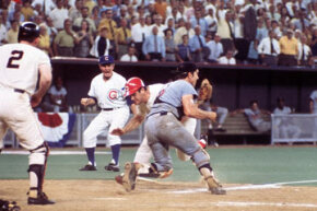 Pete Rose of the Cincinnati Reds bowled over Ray Fosse of the Oakland Athletics to score in the 1970 All-Star Game on July 14 in Cincinnati, Ohio. See more Sports Pictures.