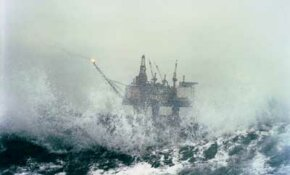 Oil Field Image Gallery Offshore oil platform 'Gullfaks C' stands up to a fierce, North Sea storm. In this part of the world, waves frequently reach as high as 6 feet (2 meters). See more pictures of oil fields and drilling.