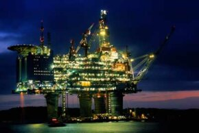 A colossal offshore platform lights up the night off the coast of Norway.