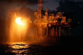 Offshore drilling platforms burn off excess natural gas, giving them their signature flares.
