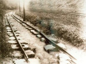 This bypassed section of the Camden & Amboy Railroad in New Jersey survived as an example of early 1830s railroad track. Like English iron rails of the time, they were supported by stone blocks, which made a sturdy but expensive railroad.