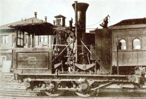 """This 1836 """"Grasshopper"""" is typical of the first successful American-built steam locomotives. With vertical boilers and indirect gearing, they were slow but surprisingly powerful."""