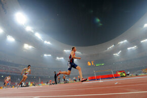A sprinter is seen on his way to win the men's 400m final. See more Olympic pictures.