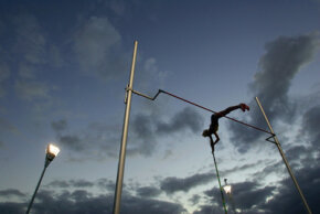 The pole vault originated in Europe, where men used the pole to cross canals filled with water. See more Olympic pictures.