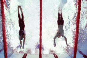 And that is why you need some serious timekeeping technology. Milorad Cavic (L) and Michael Phelps (R) both reach for the wall during the men's 100-meter butterfly final at the 2008 Beijing Summer Olympics. See more Olympic pictures.
