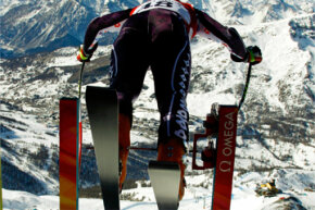 Liechtenstein's Claudio Sprecher leaves the start house during the first training run for the men's downhill race at the 2006 Torino Winter Olympics in Sestriere, Italy.