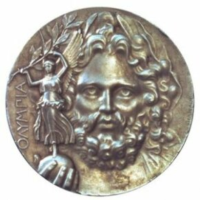 He looks mad. This is the medal awarded to first-place winners of the 1896 Athens games -- the first of the modern Olympiad. See more Olympics pictures.
